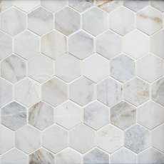 Bianco Orion Hexagon Polished Marble Mosaic