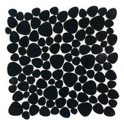 Jet Black Basalt Pebble Mosaic