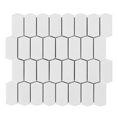 Canvas White Offset Picket Porcelain Mosaic
