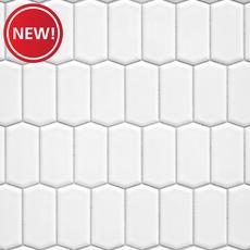 New! White Offset Picket Porcelain Mosaic