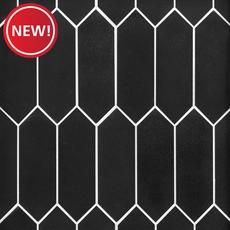 New! Jet Black Basalt Picket Limestone Mosaic