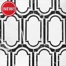 New! Artemis Carrara Nero Water Jet Polished Marble Mosaic