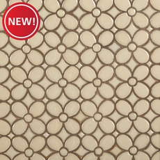New! Umber Flora Polished Porcelain Mosaic