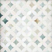 Caribbean Green Thassos Tulip Marble Mosaic