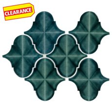 Clearance! Blue Jade Arabesque Polished Porcelain Mosaic