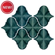 New! Blue Jade Arabesque Polished Porcelain Mosaic