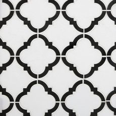 Daphne Thassos Nero Quatrefoil Marble Mosaic