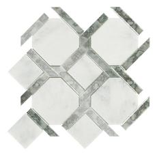 Seville Carrara White Mirror Water Jet Marble Mosiac