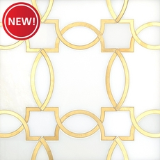 New! Phoenix Royal White Brass Water Jet Marble Mosaic