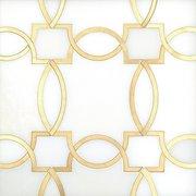 Phoenix Royal White Brass Waterjet Marble Mosaic