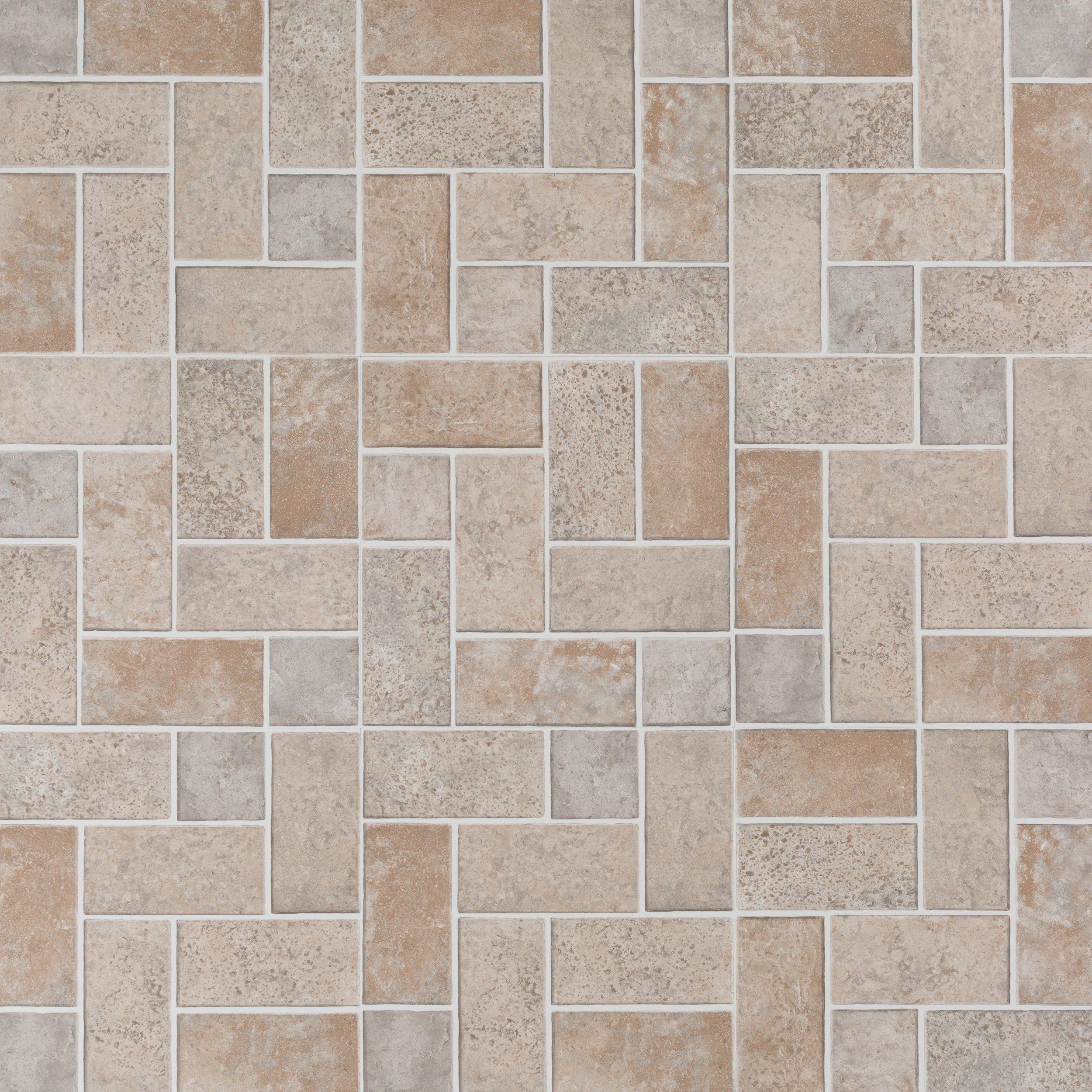 Brick Modular Gray Vinyl Tile