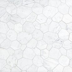 Carrara White Flagstone Polished Marble Tile