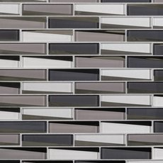 Liquid Mercury 1 x 4 in. Brick Linear Glass Mosaic