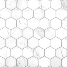 Statuario 2 in. Hexagon Polished Marble Mosaic