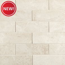 New! Santorini White 2 x 6 in. Brick Marble Mosaic