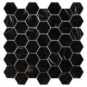 Sable Black Hexagon Polished Marble Tile