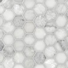 Sahara Carrara 2 in. Hexagon Polished Marble Mosaic
