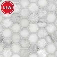 New! Sahara Carrara 2 in. Hexagon Polished Marble Mosaic