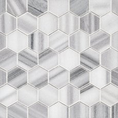 Skyfall 2 in. Hexagon Polished Marble Mosaic