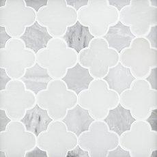 Royal White Carrara Quatrefoil Marble Mosaic