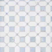 Thassos Blue Celeste Basket Weave Marble Mosaic