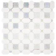 Thassos Blue Celeste Basketweave Marble Mosaic 12 X 12