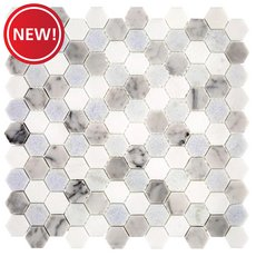 New! Blue Celeste Bianco Carrara and Thassos Mosaic