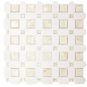 Thassos Mother of Pearl Basket Weave Marble Mosaic