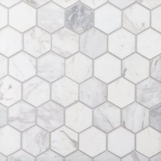 Volakas 2 in. Hexagon Honed Marble Mosaic
