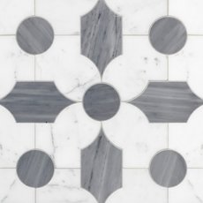 Vesta Statuario and Latin Blue Waterjet Marble Mosaic