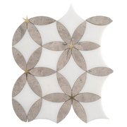 Cressida Royal White and Brass Waterjet Marble Mosaic