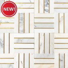 New! Manhattan Calacatta Statuario and Gold Marble Mosaic