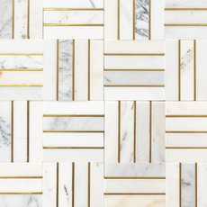 Manhattan Calacatta Statuario and Gold Marble Mosaic