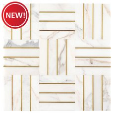 New! Manhattan Carrara White and Gold Marble Mosaic