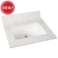 New! Sutton White Marble 25 in. Vanity Top