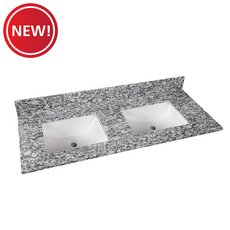 New! Kendall Gray Granite 61 in. Vanity Top