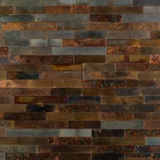 Distressed Copper Peel and Stick Metal Wall Panel
