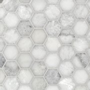 Sahara Carrara 2 in. Hexagon Marble Mosaic