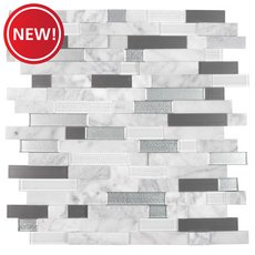 New! Uptown Silver Linear Glass Peel and Stick Mosaic