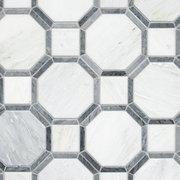 Gables Carrara White and Gray Hexagon Polished Mosaic