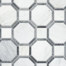 Gables Carrara White and Gray Hexagon Polished Mosaic