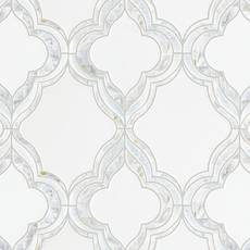 Cassia Thassos Mother of Pearl Blue Celeste Marble Waterjet Mosaic