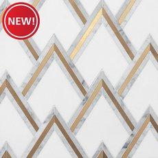 New! Bravos Thassos Carrara Brass Waterjet Mosaic