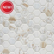 New! Calacatta Oro Hexagon Ceramic Mosaic