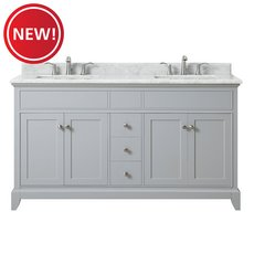 New! Aurora 61 in. Vanity with Carrara Marble Top