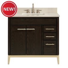 New! Hepburn 37 in. Vanity with Crema Marfil Marble Top