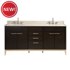 New! Hepburn 73 in. Vanity with Crema Marfil Marble Top