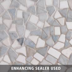 Blue Celeste Thassos Bianco Pebble Mosaic