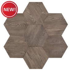 New! Midtown Gray Oak Wire-Brushed Hexagon Engineered Hardwood