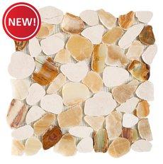 New! Monteverde Onyx Honed Pebble Mosaic